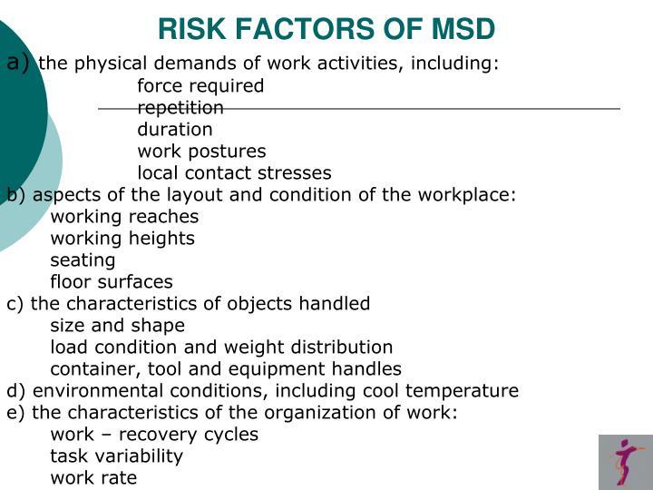 RISK FACTORS OF MSD