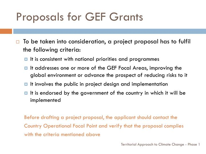 Proposals for GEF Grants