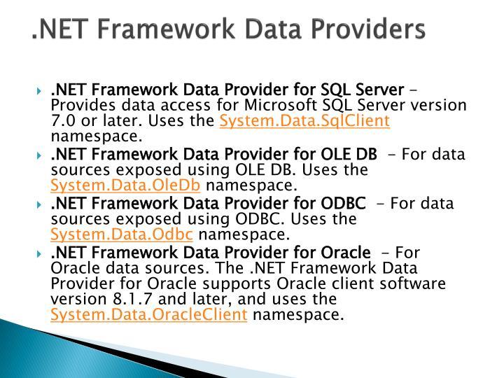 .NET Framework Data Providers