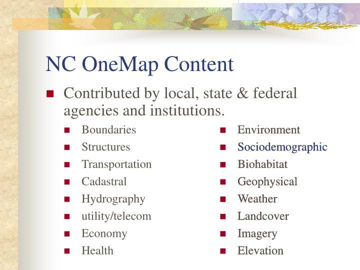 NC OneMap Content