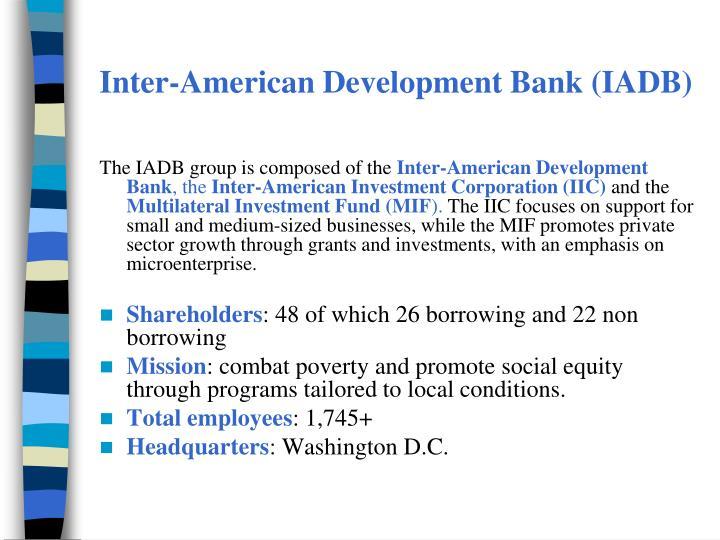 Inter-American Development Bank (IADB)
