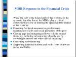 mdb response to the financial crisis