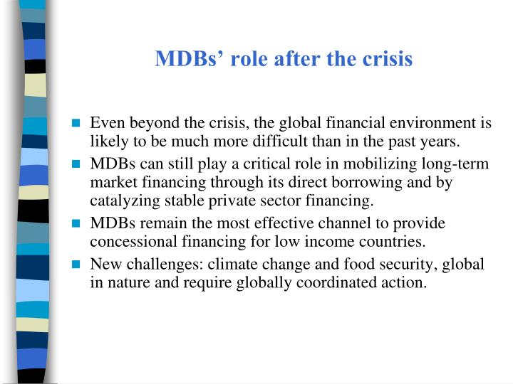 MDBs' role after the crisis