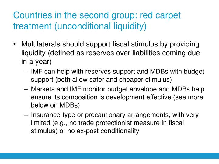 Countries in the second group: red carpet treatment (unconditional liquidity)