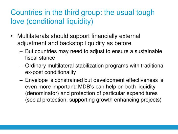Countries in the third group: the usual tough love (conditional liquidity)