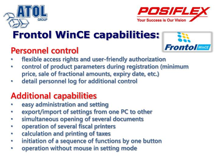 Frontol WinCE capabilities: