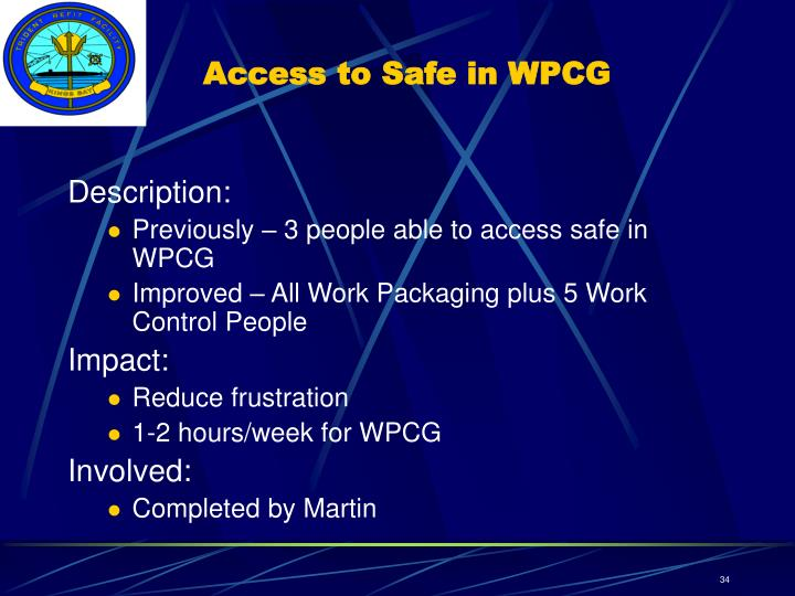 Access to Safe in WPCG