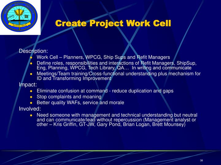 Create Project Work Cell