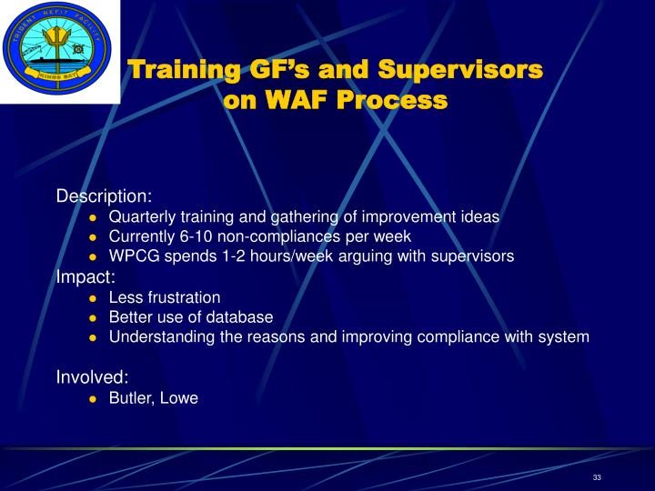 Training GF's and Supervisors