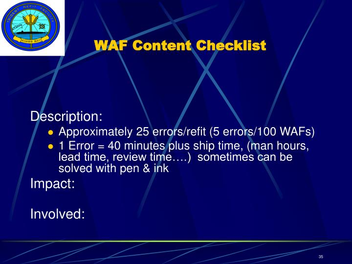 WAF Content Checklist