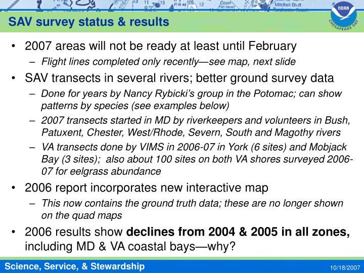 SAV survey status & results