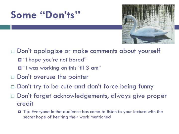 "Some ""Don'ts"""