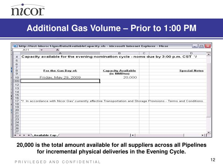 Additional Gas Volume – Prior to 1:00 PM