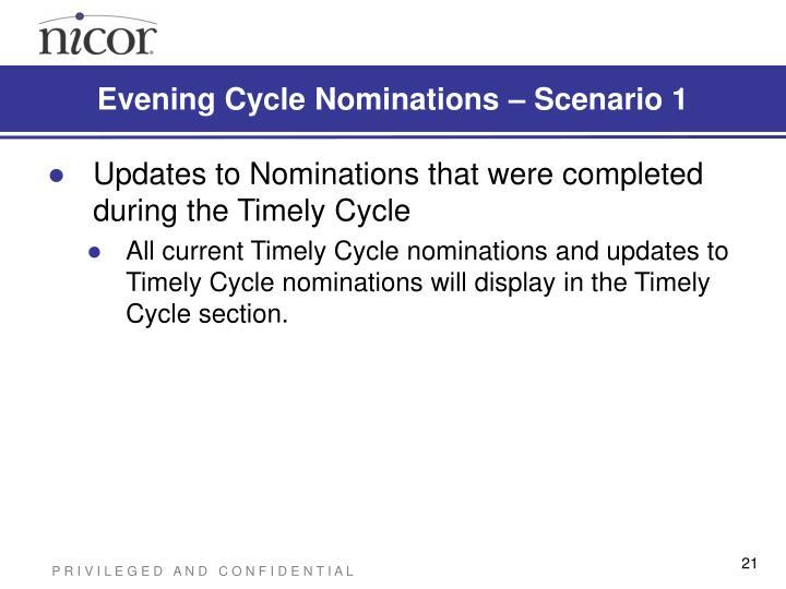 Evening Cycle Nominations – Scenario 1