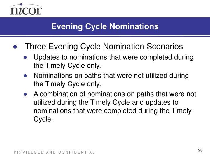 Evening Cycle Nominations
