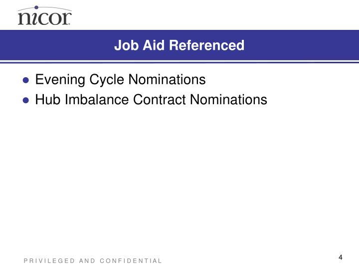Job Aid Referenced
