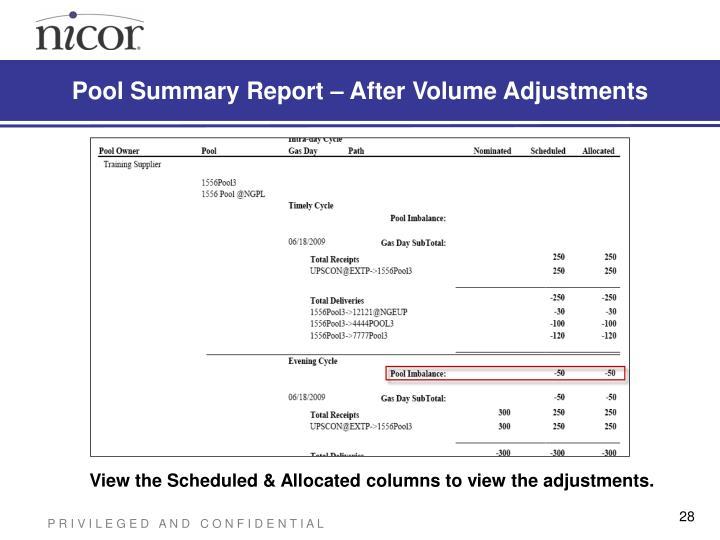 Pool Summary Report – After Volume Adjustments