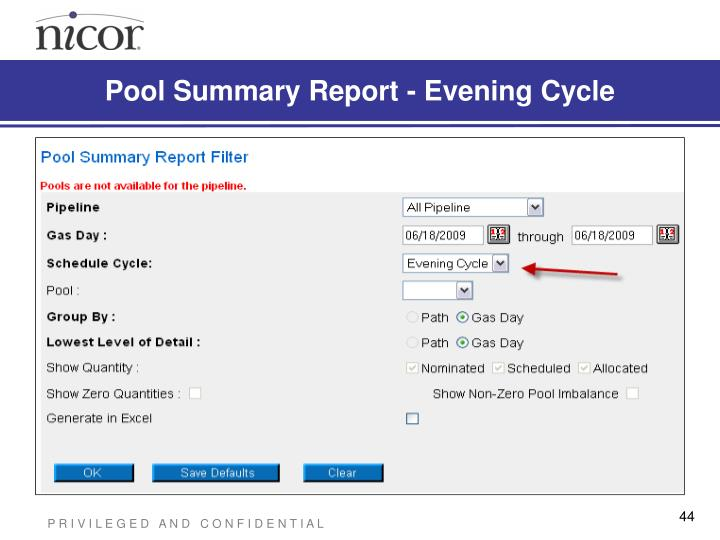 Pool Summary Report - Evening Cycle
