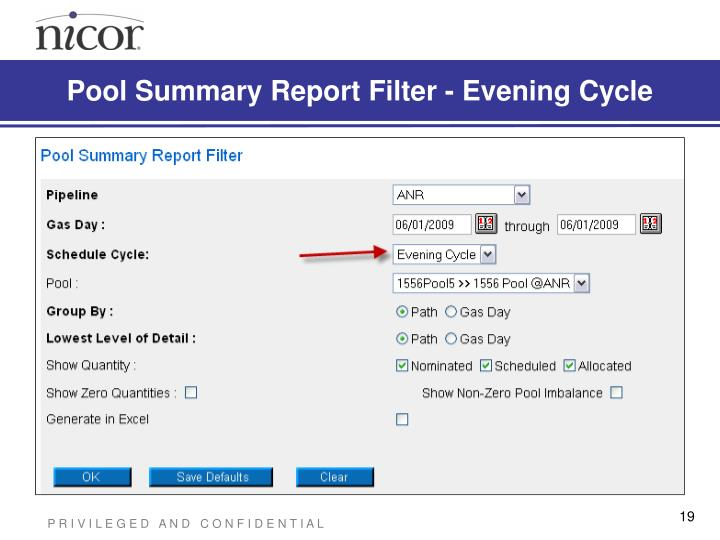 Pool Summary Report Filter - Evening Cycle
