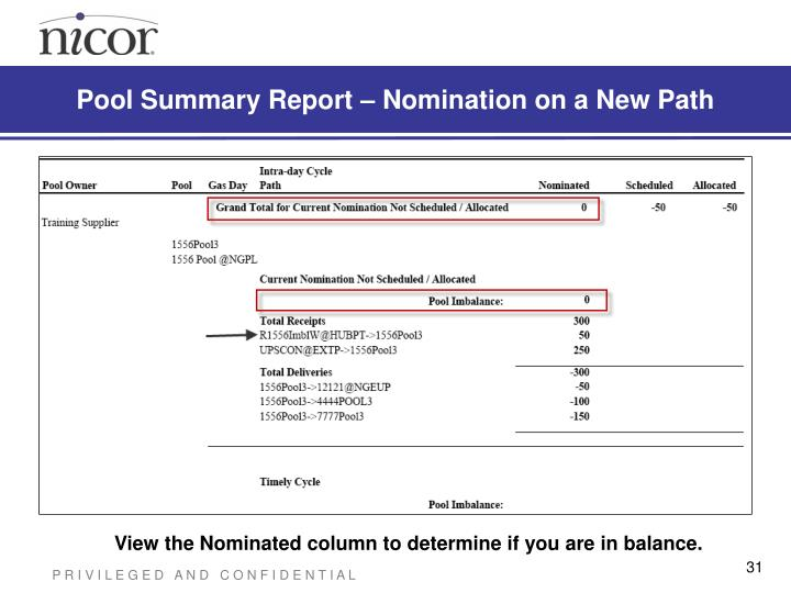 Pool Summary Report – Nomination on a New Path