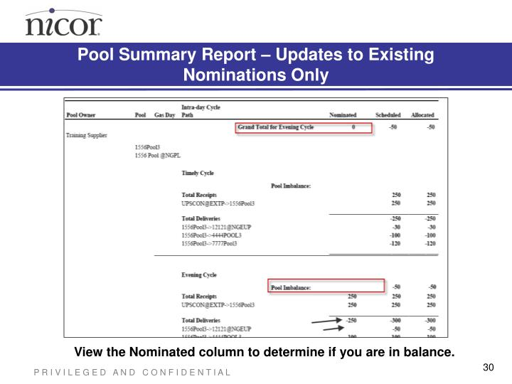 Pool Summary Report – Updates to Existing Nominations Only