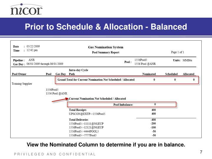 Prior to Schedule & Allocation - Balanced