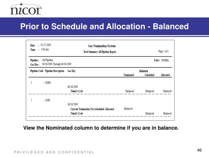 Prior to Schedule and Allocation - Balanced