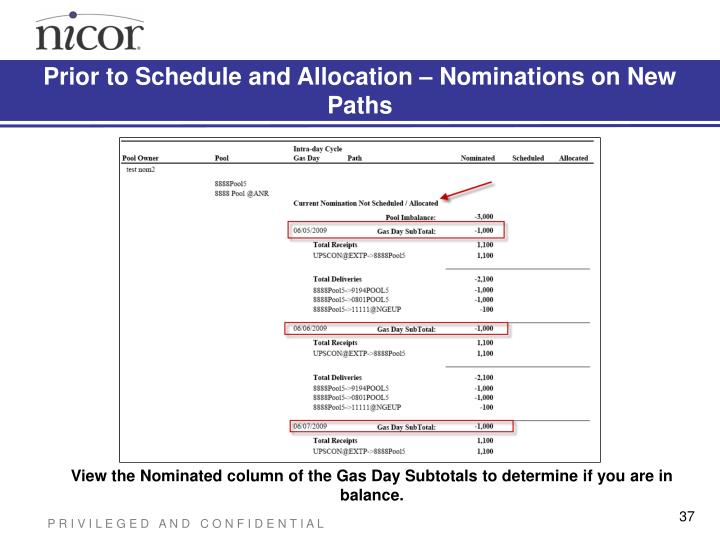 Prior to Schedule and Allocation – Nominations on New Paths