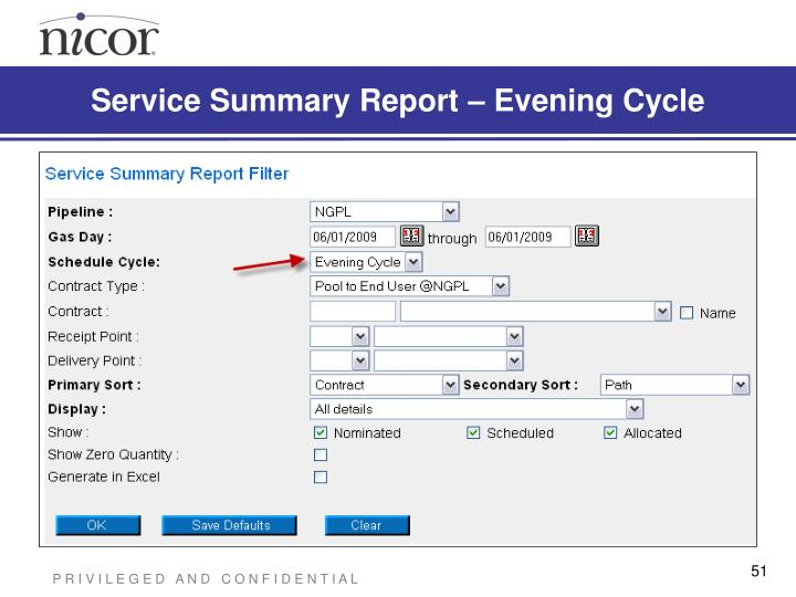 Service Summary Report – Evening Cycle