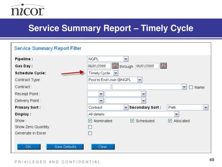 Service Summary Report – Timely Cycle