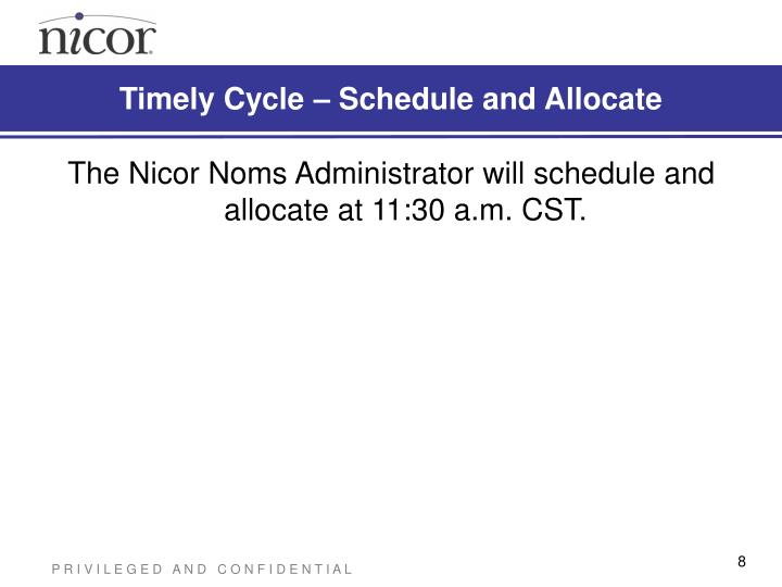 Timely Cycle – Schedule and Allocate