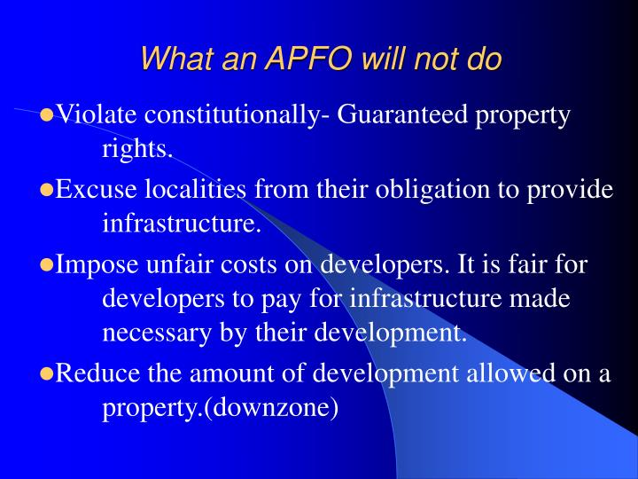 What an APFO will not do