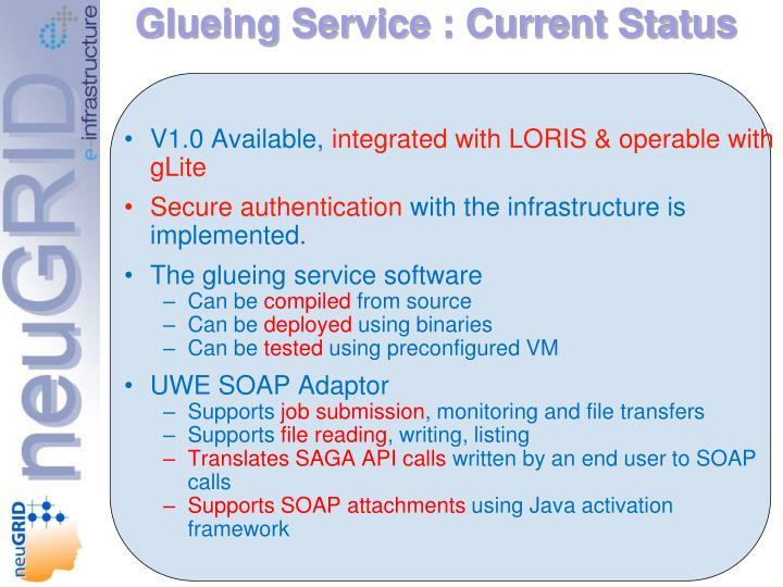 Glueing Service : Current Status