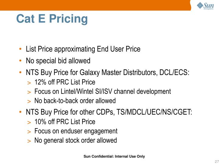 Cat E Pricing