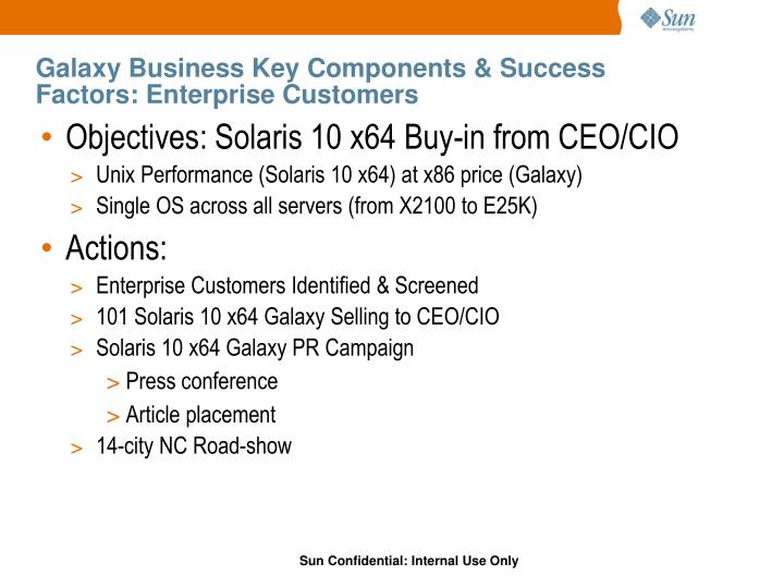 Galaxy Business Key Components & Success Factors: Enterprise Customers