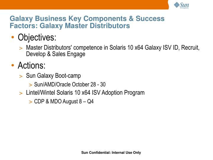 Galaxy Business Key Components & Success Factors: Galaxy Master Distributors