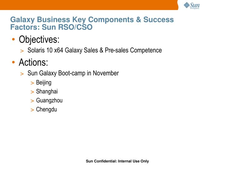 Galaxy Business Key Components & Success Factors: Sun RSO/CSO