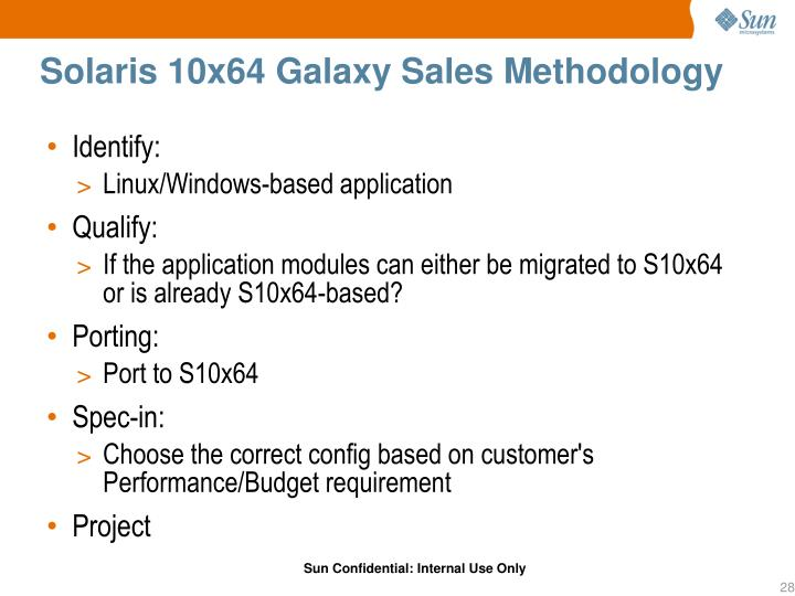 Solaris 10x64 Galaxy Sales Methodology