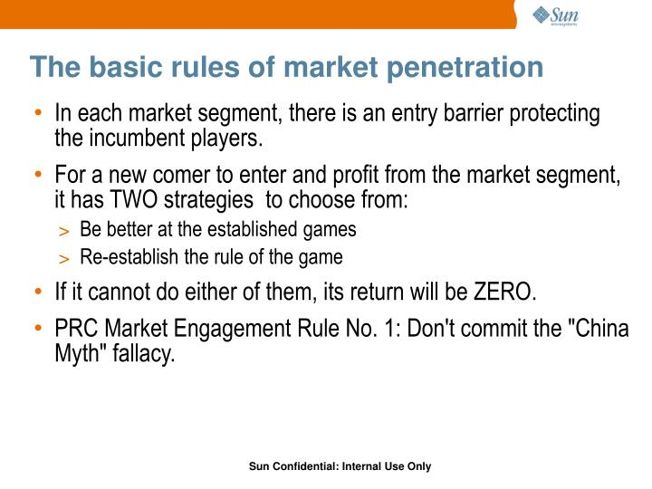 The basic rules of market penetration