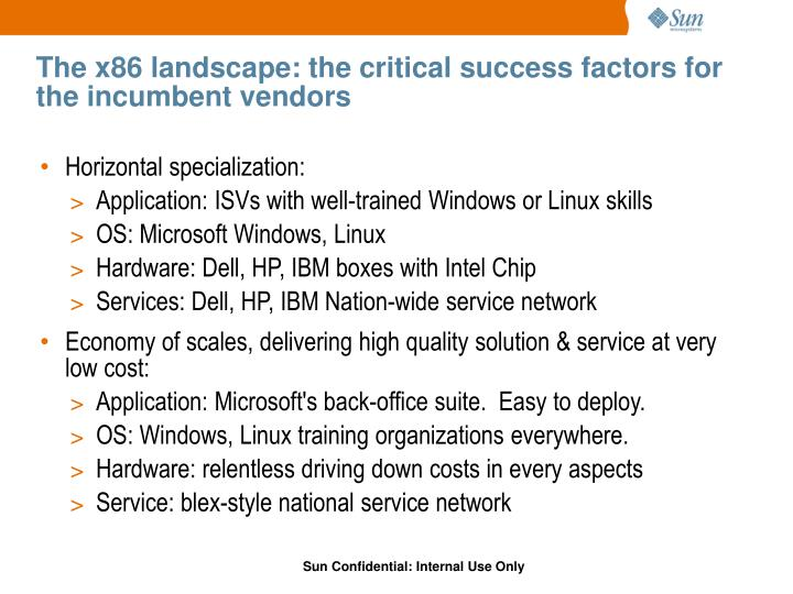 The x86 landscape: the critical success factors for the incumbent vendors