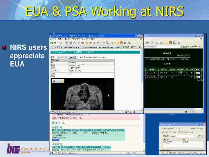 EUA & PSA Working at NIRS