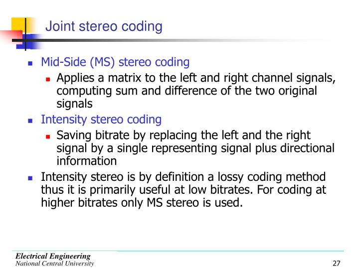 Joint stereo coding