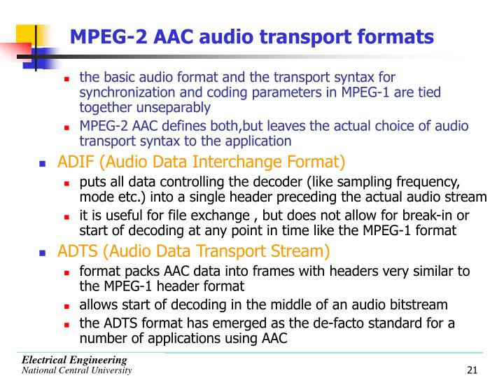 MPEG-2 AAC audio transport formats