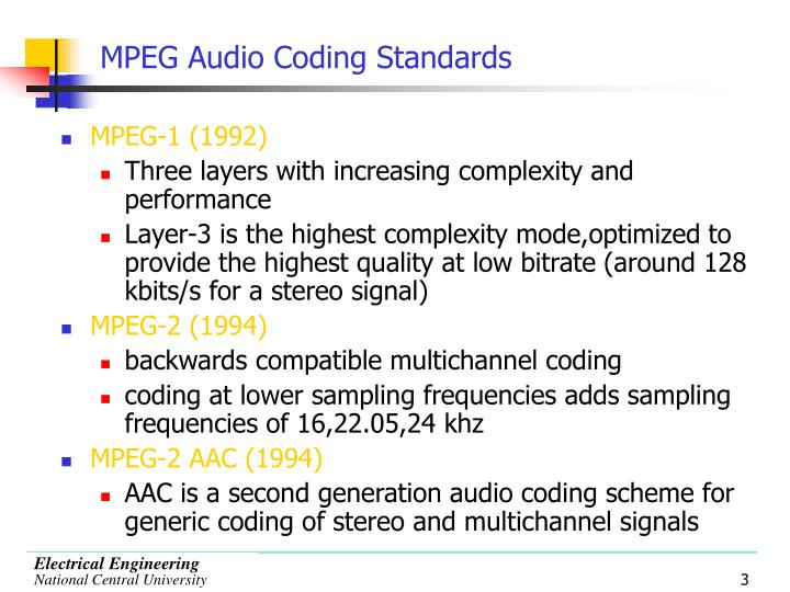 Mpeg audio coding standards