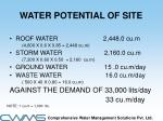 water potential of site