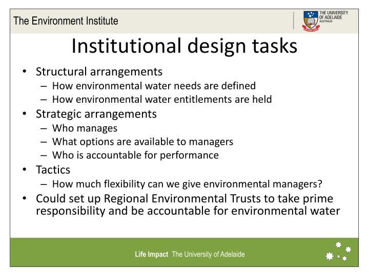 Institutional design tasks