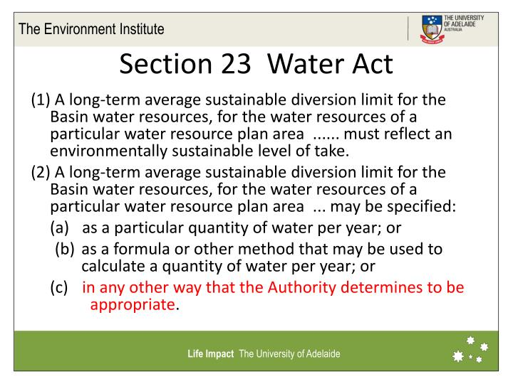Section 23  Water Act
