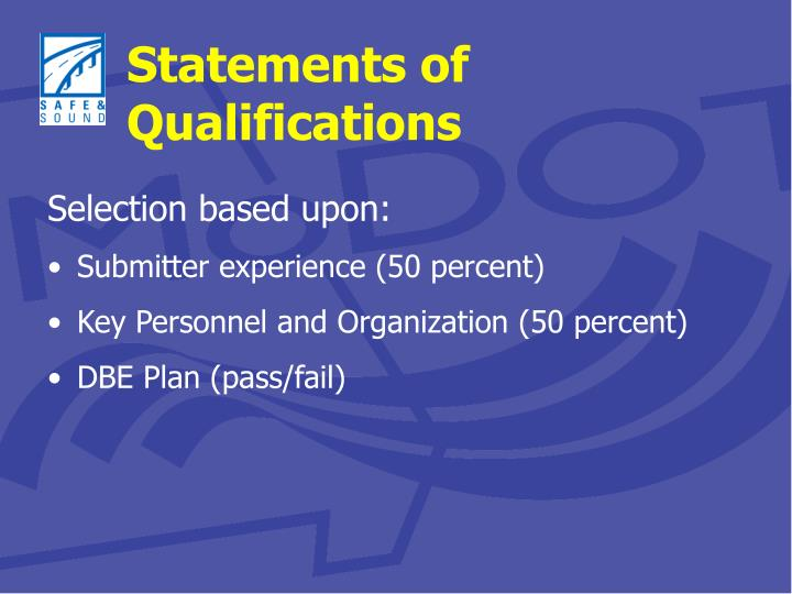Statements of Qualifications