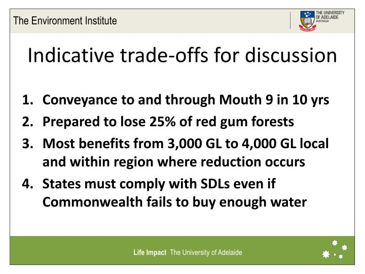 Indicative trade offs for discussion
