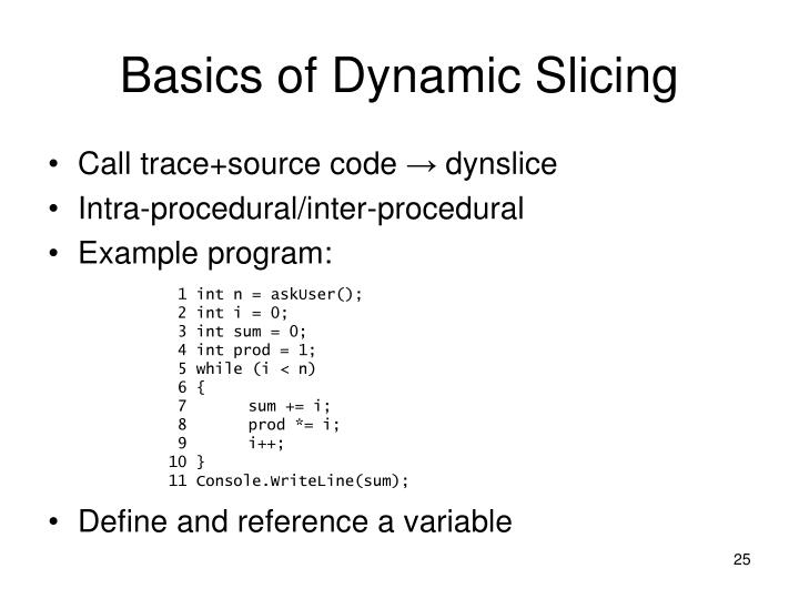 Basics of Dynamic Slicing